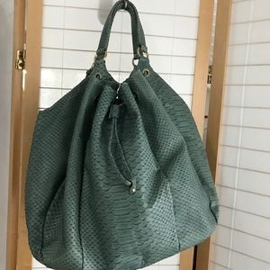 Furla teal leather bag Extra large tote drawstring